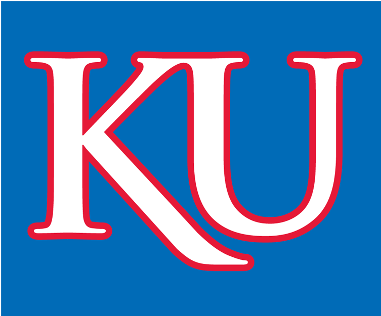 Kansas Jayhawks Logo Alternate Logo (2006-Pres) - A white KU with red outline on a blue background. SportsLogos.Net