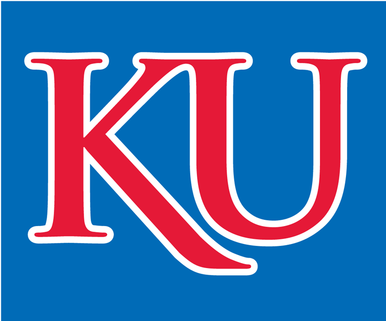 Kansas Jayhawks Logo Alternate Logo (2006-Pres) - A red KU with white outline on a blue background. SportsLogos.Net