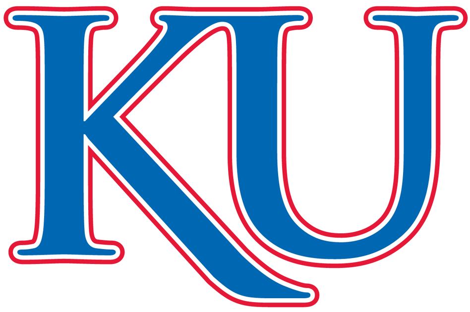 Kansas Jayhawks Logo Alternate Logo (2006-Pres) - Blue KU with red and white outline. SportsLogos.Net