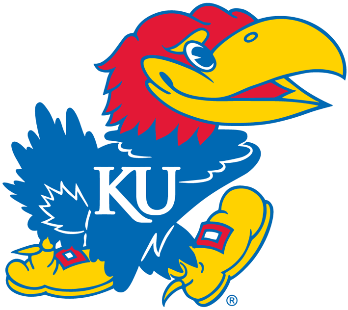 Kansas Jayhawks Logo Primary Logo (2006-Pres) - The font of the white KU on the Jayhawk's chest changes. SportsLogos.Net