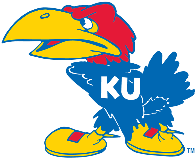 Kansas Jayhawks Logo Primary Logo (1941-1945) - Tippsy looking blue bird with KU in white on his chest SportsLogos.Net