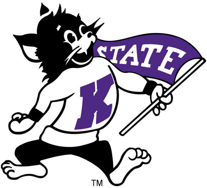Kansas State Wildcats Logo Primary Logo (1955-1974) - Purple WIldcat with a Shirt and Penant SportsLogos.Net