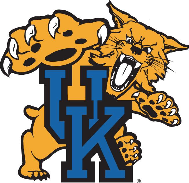 Kentucky Wildcats Logo Primary Logo (1989-2004) - A wildcat about to attack interlocking blue UK SportsLogos.Net