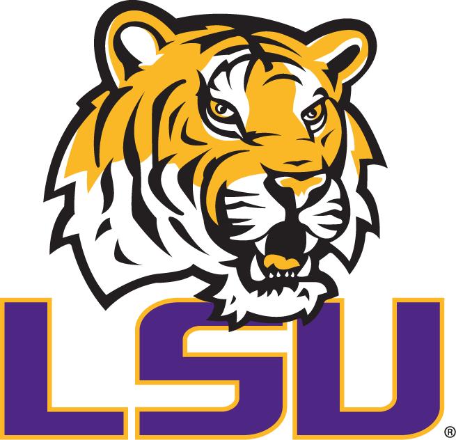 LSU Tigers Logo Primary Logo (2007-2013) - Tiger head above LSU in purple SportsLogos.Net
