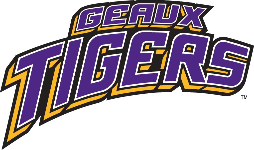 LSU Tigers Logo Wordmark Logo (2002-Pres) - Geaux Tigers in 3D purple and gold SportsLogos.Net