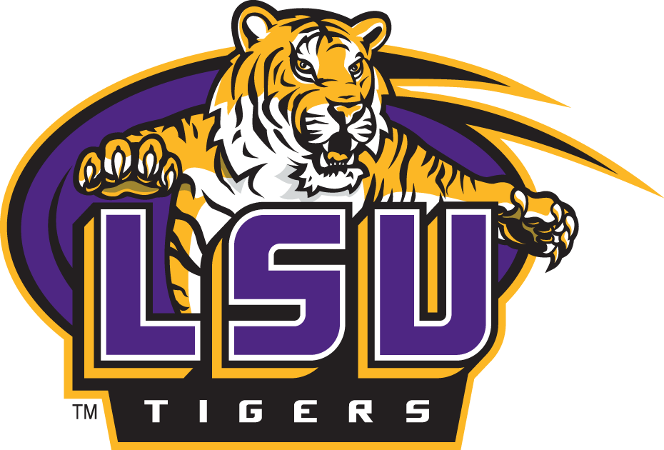 LSU Tigers Logo Primary Logo (2002-2006) - A Tiger set to pounce on the letters LSU SportsLogos.Net