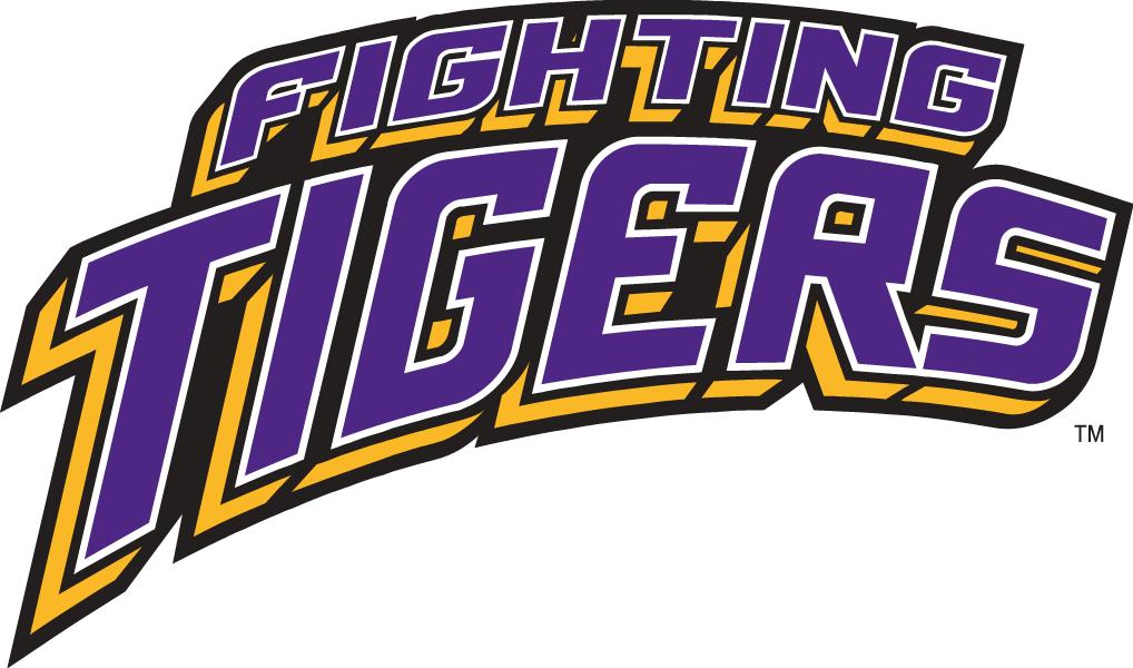 LSU Tigers Logo Wordmark Logo (2002-Pres) - Fighting Tigers in 3D purple and gold SportsLogos.Net