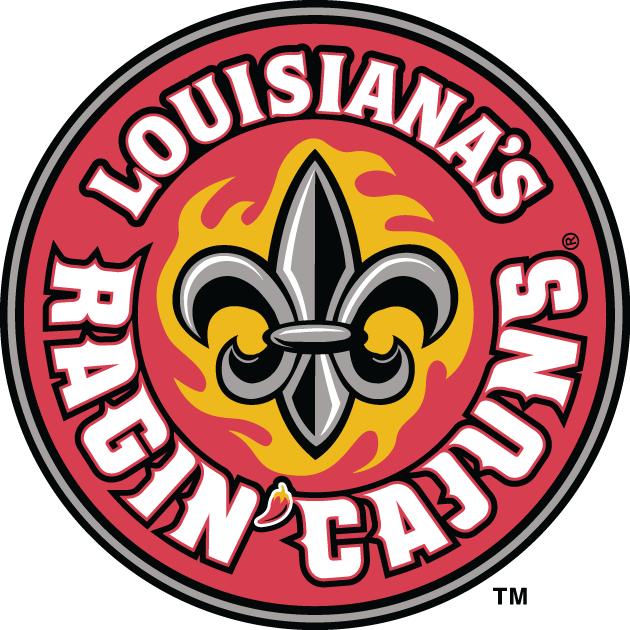 Louisiana Ragin Cajuns Logo Primary Logo (2000-Pres) - Fleur-de-lis in yellow burst on a red cirlce with script SportsLogos.Net