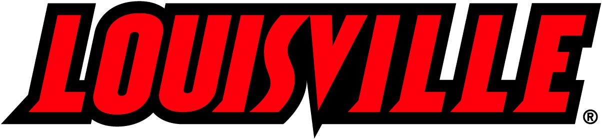 Louisville Cardinals Logo Wordmark Logo (2001-2012) - Louisville in black and red. SportsLogos.Net