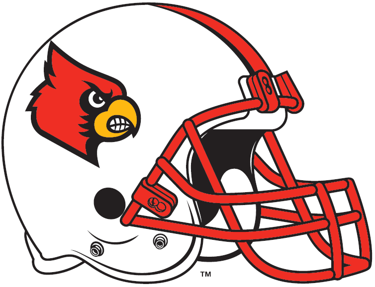 Louisville Cardinals Helmet Helmet (2007-2008) - Angry Cardinal's head on a white helmet with red face mask SportsLogos.Net