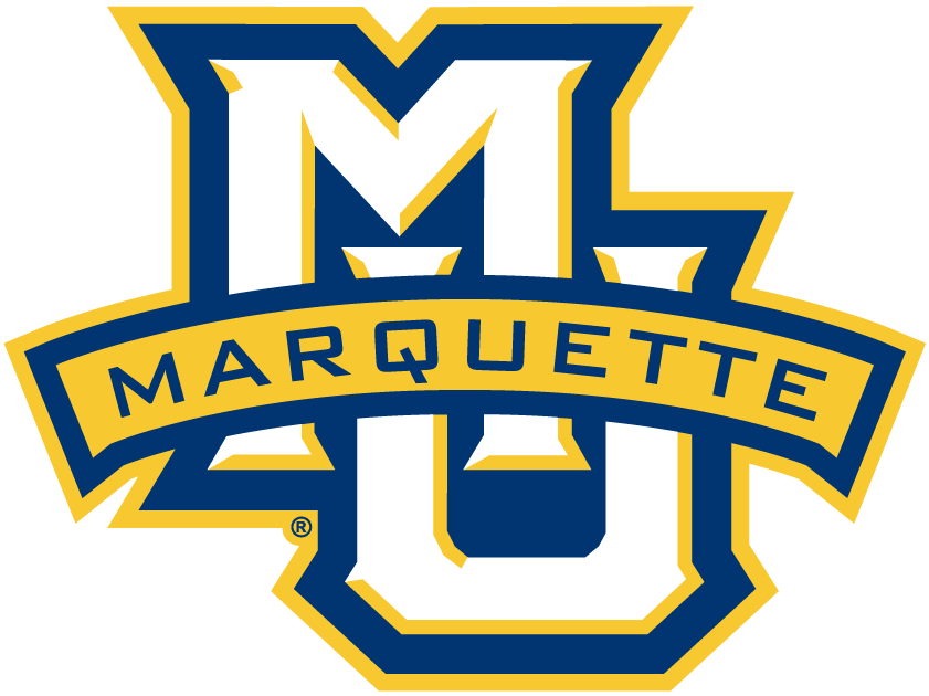 Marquette Golden Eagles Logo Primary Logo (2005-Pres) - Interlocking MU with blue and gold outline and gold banner saying Marquette SportsLogos.Net