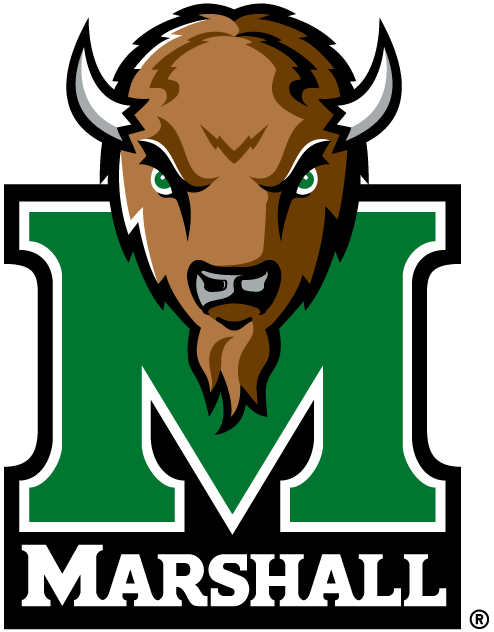 Marshall Thundering Herd Logo Primary Logo (2001-Pres) - Bison's head over green M with school name SportsLogos.Net