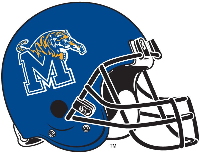 Memphis Tigers Helmet Helmet (1999-2014) - Blue football helmet with M-Leaping Tiger logo and black facemask. SportsLogos.Net