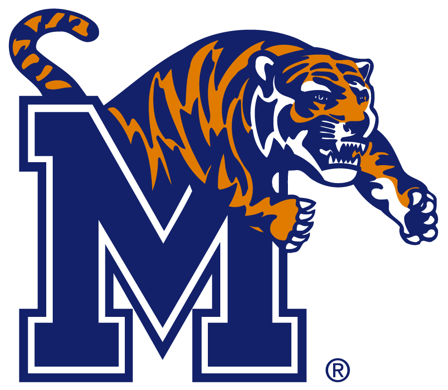 Memphis Tigers Logo Primary Logo (1993-2021) - Although Memphis State University became University of Memphis in 1994, the Primary logo was changed from MSU to M in 1993. The logo retained the redesigned Leaping Tiger adopted in 1990. SportsLogos.Net