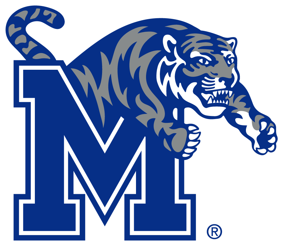 Memphis Tigers Logo Primary Logo (2021-Pres) - As early as February 2021, Memphis Tigers began use of a modernized tiger logo in a new shade of Memphis Blue. The Primary version features the tiger in gray while the alternate version retains the Orange. Noticeable changes in the tiger include a redefined face and thicker, cleaner stripes. The Block M remains the same. SportsLogos.Net