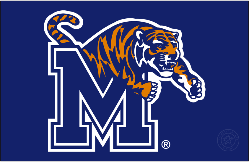 Memphis Tigers Logo Primary Dark Logo (1993-2021) - Although Memphis State University became University of Memphis in 1994, the Primary logo was changed from MSU to M in 1993. The logo retained the redesigned Leaping Tiger adopted in 1990. SportsLogos.Net