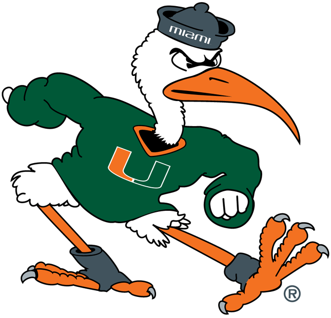 Miami Hurricanes Logo Mascot Logo (2000-2008) - Sebastian the Ibis wearing a green sweater and grey hat. SportsLogos.Net