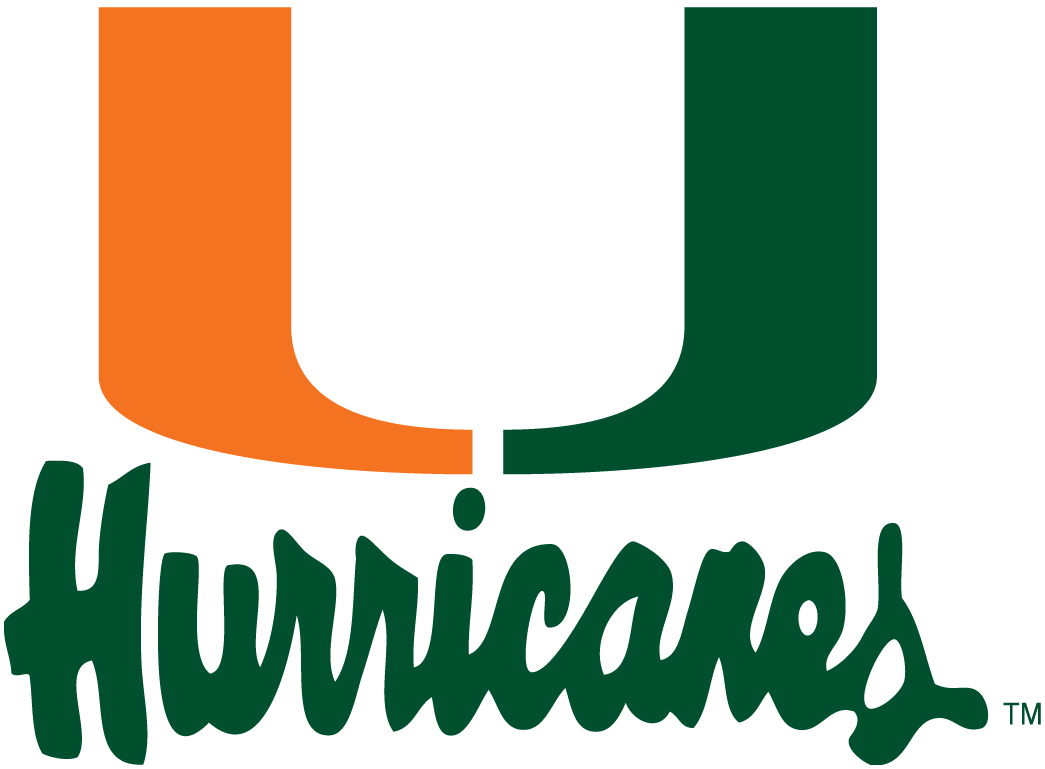 Miami Hurricanes Logo Alternate Logo (1979-1999) - Green and orange U over scripted Hurricanes in green SportsLogos.Net