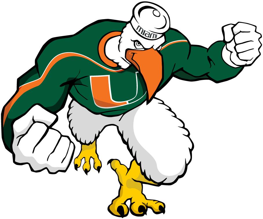 Miami Hurricanes Logo Mascot Logo (2000-2005) - Sebastien in green throwing a punch forward SportsLogos.Net