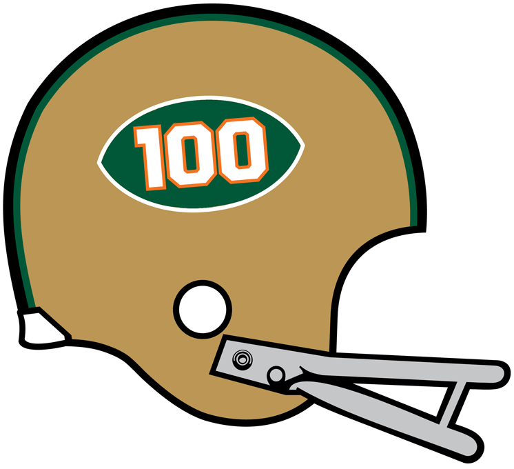Miami Hurricanes Helmet Helmet (1969) - 100th Anniversary season helmet SportsLogos.Net