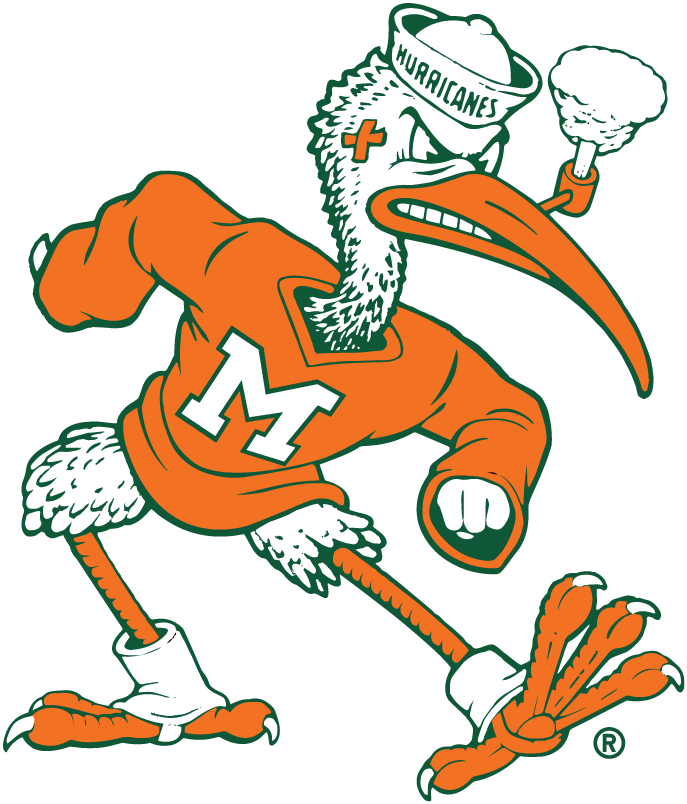 Miami Hurricanes Logo Mascot Logo (1964-1982) -  SportsLogos.Net