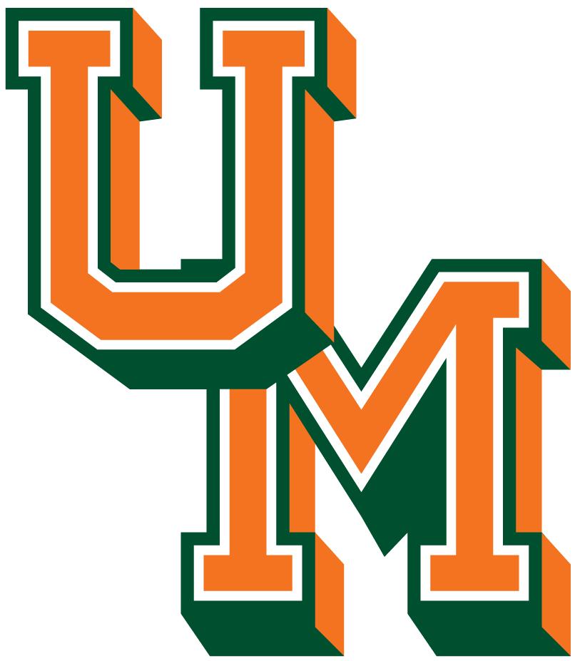 Miami Hurricanes Logo Primary Logo (1965-1971) - Orange UM with Green Outline SportsLogos.Net