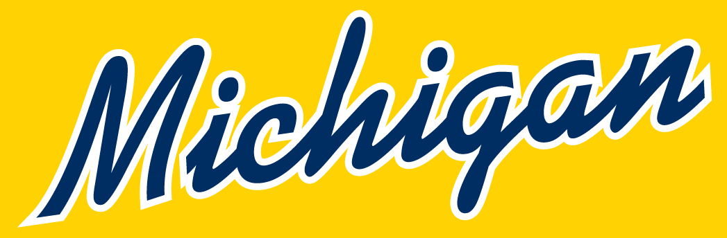 Michigan Wolverines Logo Wordmark Logo (1996-Pres) - Michigian scripted in blue on yellow SportsLogos.Net
