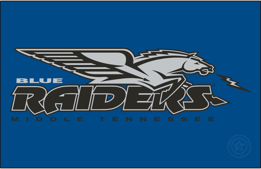 Middle Tennessee Blue Raiders Logo Alt on Dark Logo (1998-2015) - Flying horse with a lightning bolt over Blue Raiders over Middle Tennessee. SportsLogos.Net