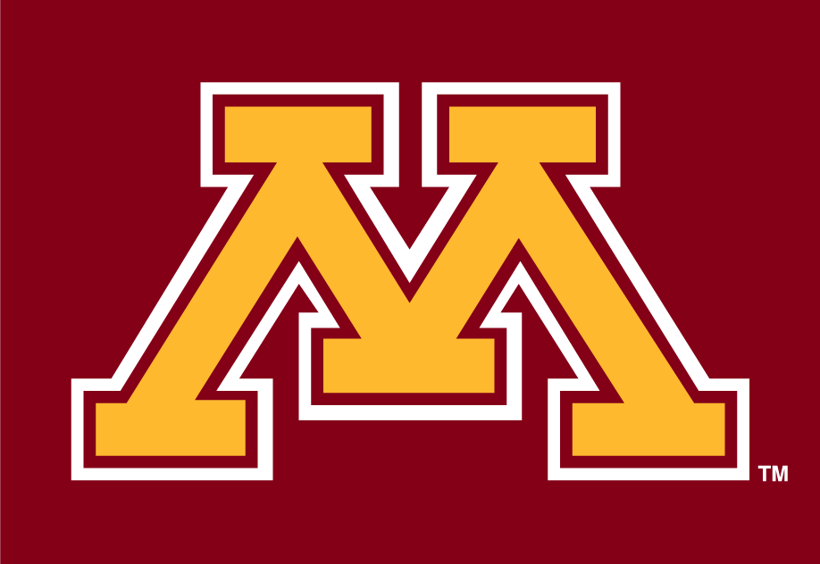 Minnesota Golden Gophers Logo Alternate Logo (1986-Pres) - A gold M with a white outline on a maroon background. SportsLogos.Net