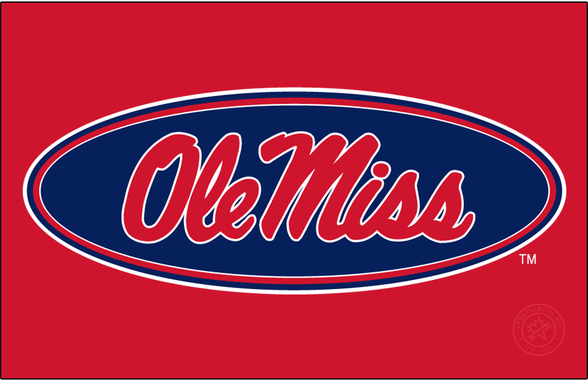Mississippi Rebels Logo Alt on Dark Logo (2007-2011) - Horizontal Script Ole Miss in oval in new shade of red and blue on red background. SportsLogos.Net