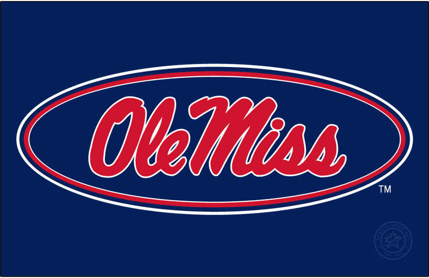 Mississippi Rebels Logo Alt on Dark Logo (2007-2011) - Horizontal Script Ole Miss in oval in new shade of red and blue on blue background. SportsLogos.Net
