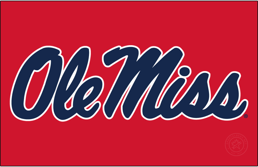 Mississippi Rebels Logo Alt on Dark Logo (2020-Pres) - In 2020, Ole Miss slightly modified the Horizontal Script and changed the shade of blue. SportsLogos.Net
