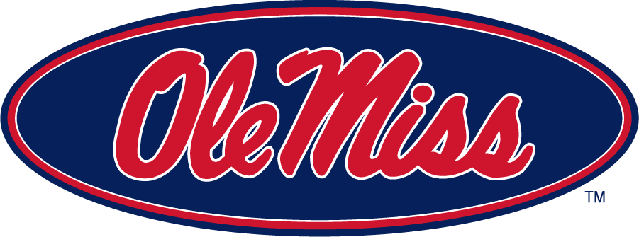 Mississippi Rebels Logo Alternate Logo (2007-2011) - Horizontal Script Ole Miss in oval in new shade of red and blue. SportsLogos.Net