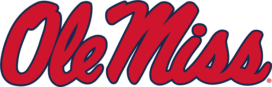Mississippi Rebels Logo Alternate Logo (2020-Pres) - In 2020, Ole Miss slightly modified the Horizontal Script and changed the shade of blue. SportsLogos.Net