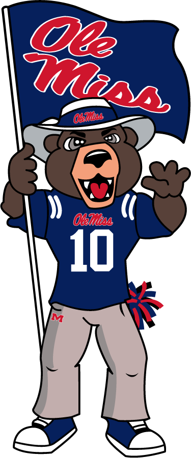 Mississippi Rebels Logo Mascot Logo (2010-2018) - Rebel Black Bear mascot in jersey & holding flag adopted in 2010 replacing the Colonel Reb mascot. SportsLogos.Net