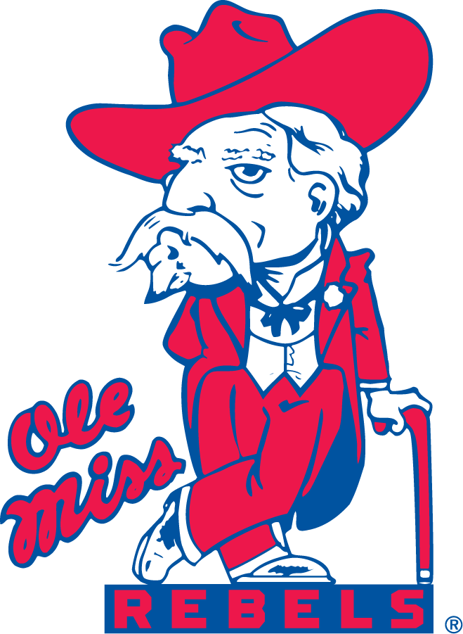 Mississippi Rebels Logo Primary Logo (1970-2002) - Colonel Reb with cane beside script Ole Miss on bar with Rebels. Made its first overall appearance in the 1936-37 yearbook but did not become the face of athletics until 1970 when it appeared on their football helmets and in publications. A different version of the Colonel was used in publications until 1970. SportsLogos.Net