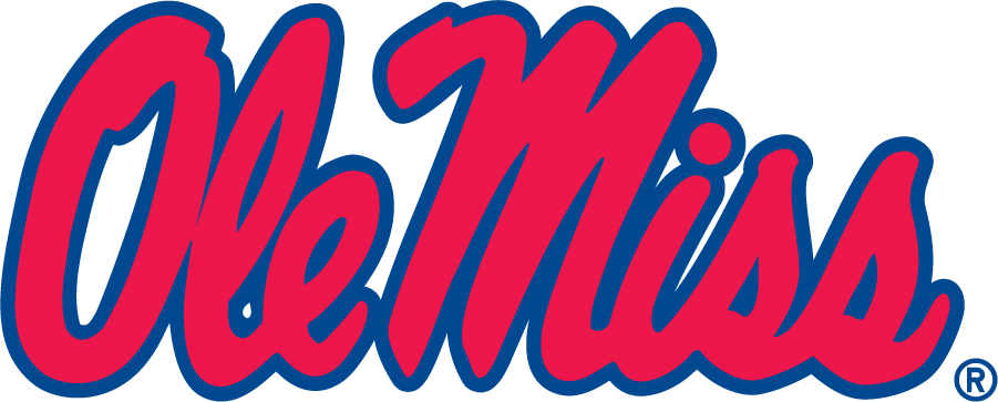 Mississippi Rebels Logo Primary Logo (2002-2007) - Stacked Script Ole Miss in red and blue. Been around since 1983 and became the Primary in 2002. SportsLogos.Net