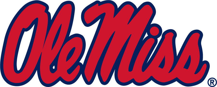 Mississippi Rebels Logo Primary Logo (2007-2020) - Horizontal Script Ole Miss in new shade of red and blue. (Pantone 186C and 281C). SportsLogos.Net