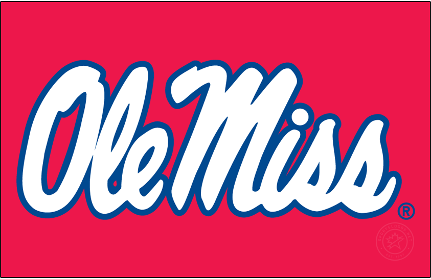 Mississippi Rebels Logo Primary Dark Logo (2002-2007) - Stacked Script Ole Miss in white and blue on red background. SportsLogos.Net