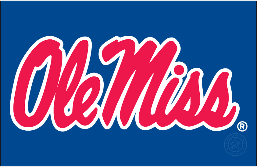 Mississippi Rebels Logo Primary Dark Logo (2002-2007) - Stacked Script Ole Miss in white and red on blue background. SportsLogos.Net