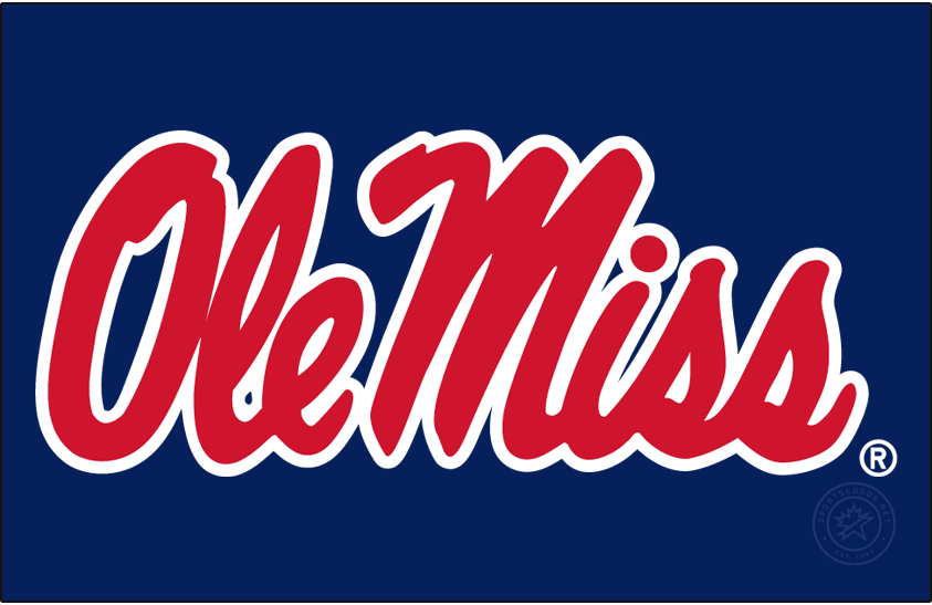 Mississippi Rebels Logo Primary Dark Logo (2007-2020) - Horizontal Script Ole Miss in new shade of red and blue on blue background. SportsLogos.Net