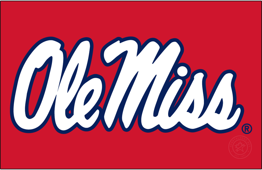 Mississippi Rebels Logo Primary Dark Logo (2007-2020) - Horizontal Script Ole Miss in new shade of red and blue on red background. SportsLogos.Net