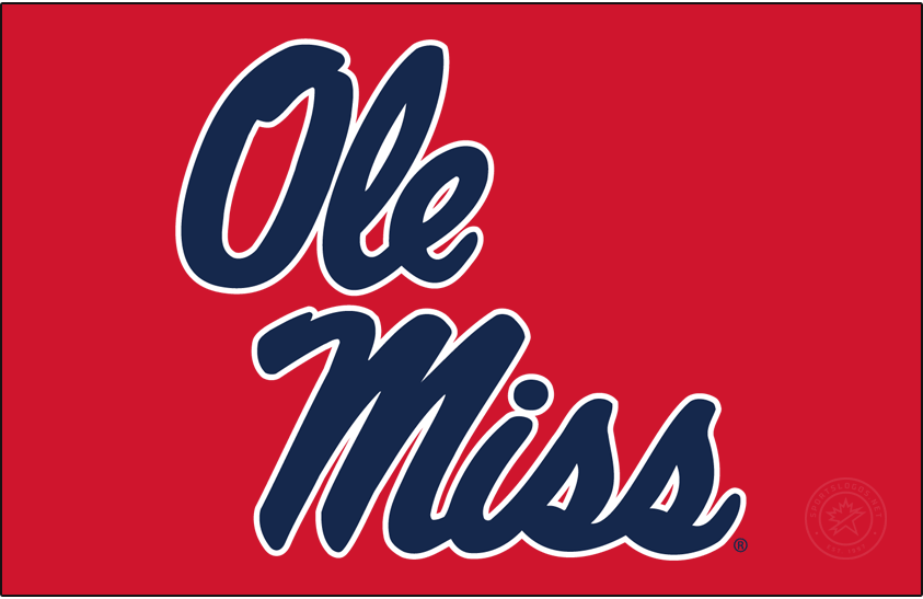 Mississippi Rebels Logo Primary Dark Logo (2020-Pres) - In 2020, Ole Miss slightly modified the Stacked Script and changed the shade of blue. SportsLogos.Net