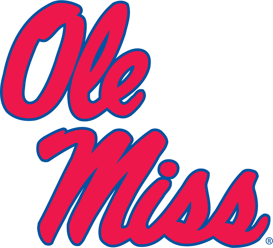 Mississippi Rebels Logo Secondary Logo (1983-2007) - Stacked Script Ole Miss. First appeared on their football helmets and in publications in 1983 and eventually became the Primary in the 21st century. At the time this was commonly seen in red and white on a powder blue background. SportsLogos.Net