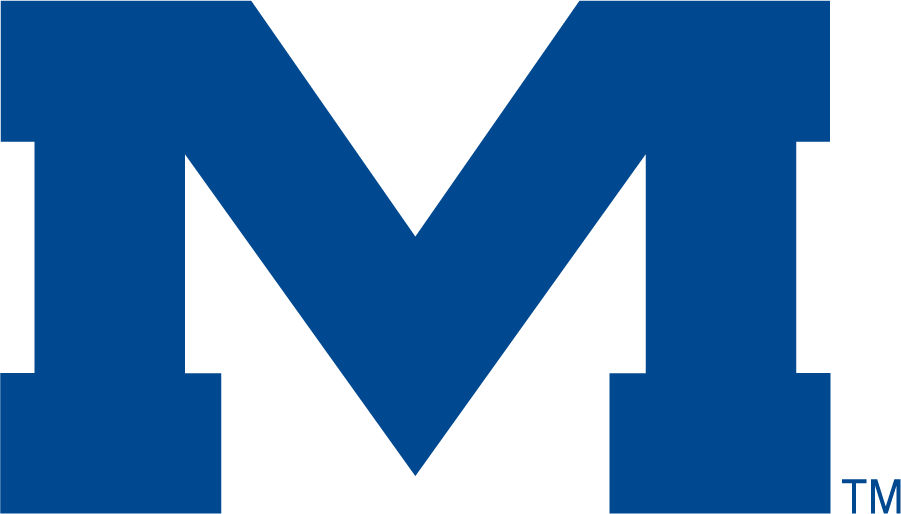 Mississippi Rebels Logo Secondary Logo (2002-2007) - Wide Block M in blue. SportsLogos.Net