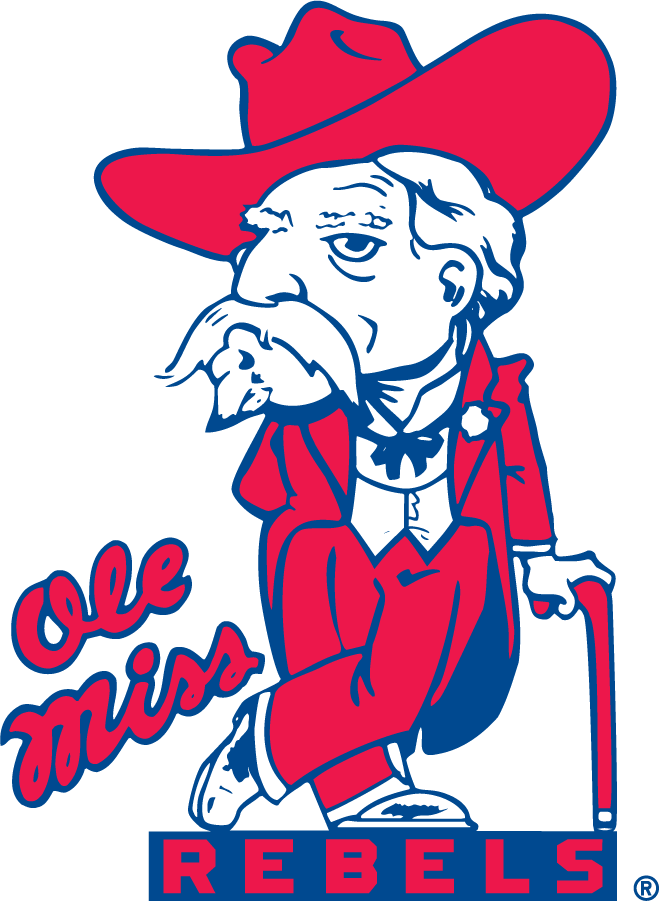 Mississippi Rebels Logo Secondary Logo (2002-2007) - Colonel Reb was demoted to Secondary after decades of being the Primary. Was discontinued by 2007 and completely eliminated by 2010 as the school adopted a new bear mascot then. SportsLogos.Net
