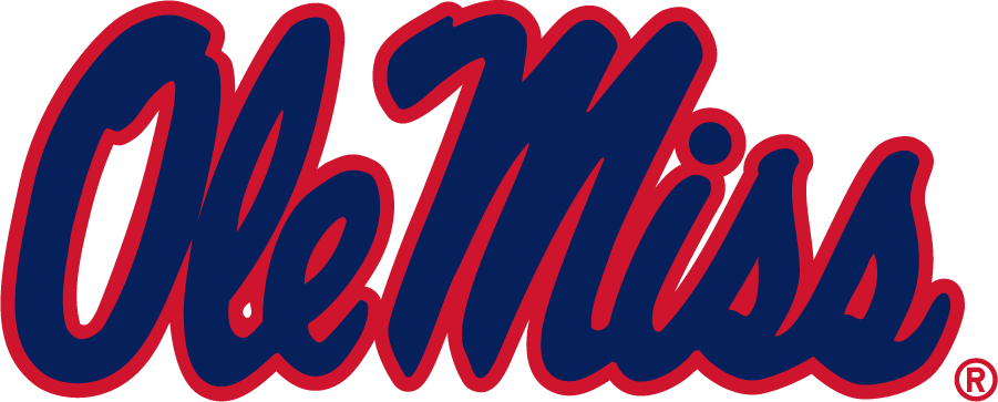 Mississippi Rebels Logo Secondary Logo (2007-2011) - Previously Wordmark, now Secondary in new shades of red and blue. Inversed version of the Primary of this time period. SportsLogos.Net