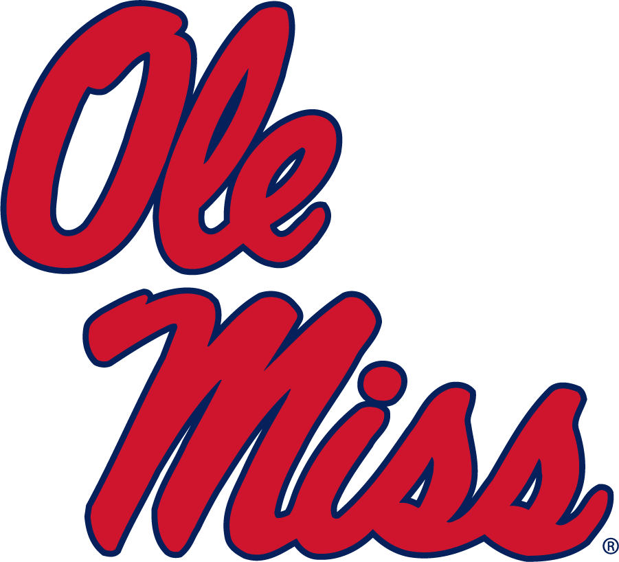 Mississippi Rebels Logo Secondary Logo (2007-2011) - Stacked Script Ole Miss in new shades of red and blue. Would become the Alternate in 2011 after being the Secondary for several decades. SportsLogos.Net