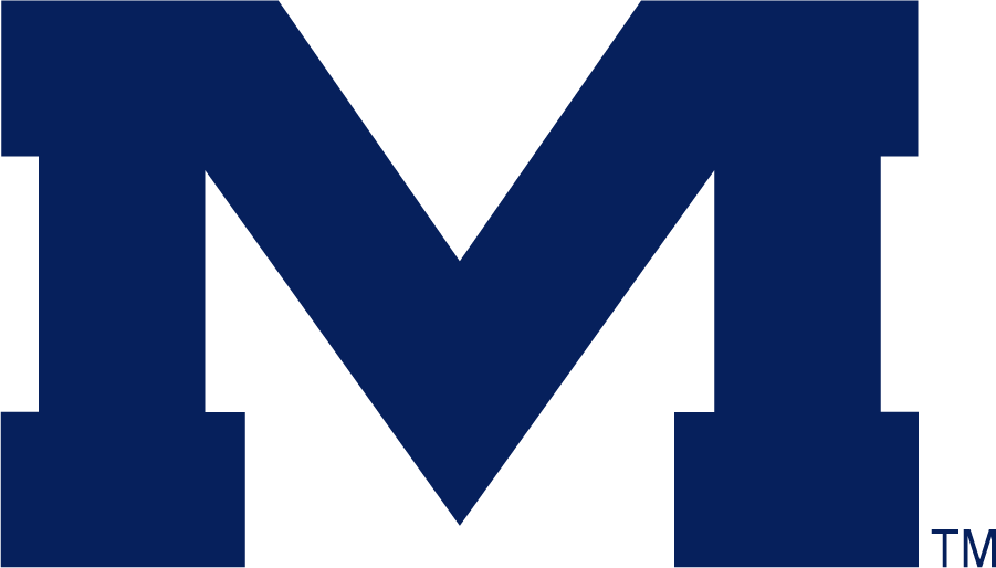 Mississippi Rebels Logo Secondary Logo (2007-2020) - Block M in new blue. SportsLogos.Net