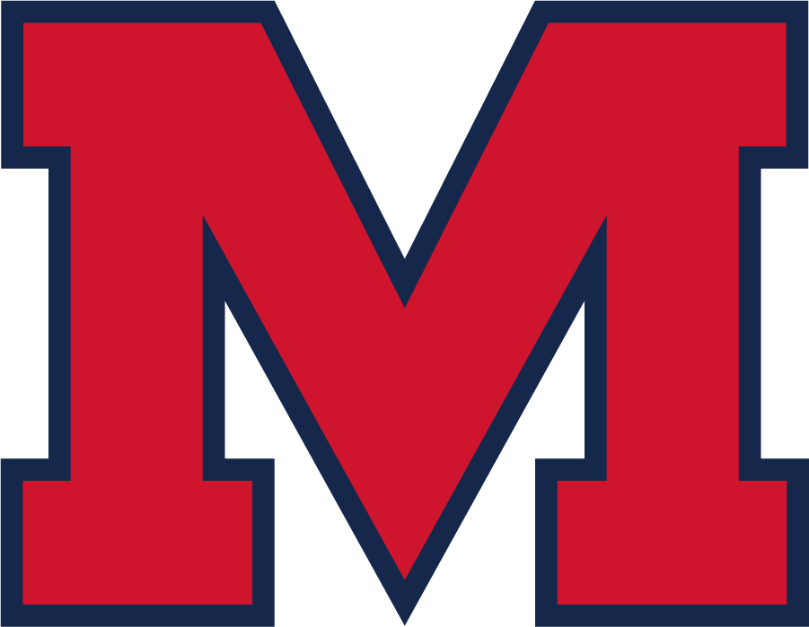Mississippi Rebels Logo Secondary Logo (2020-2021) - Block M in red with blue outline. Proportions modified from previous version. SportsLogos.Net